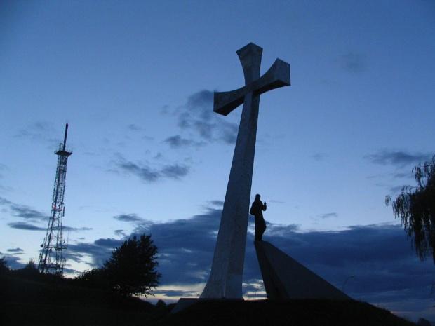 kopiec tatarski #krzyż #niebo #chmury #kopiec #przemyśl