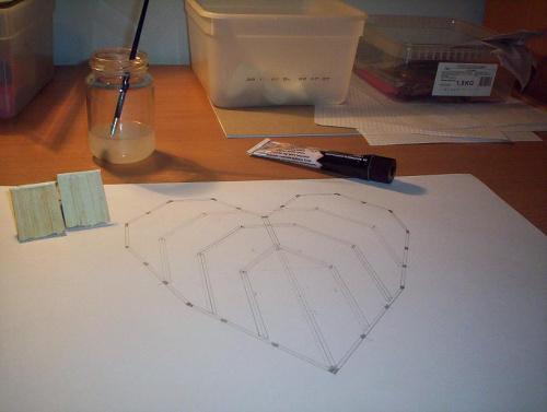 Początki pierwszej ściany #zapałki #serce